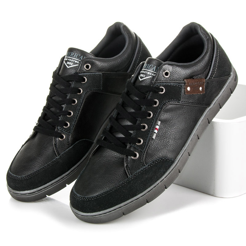 Pohodlné čierne pánske športové topánky  a1eff35e598