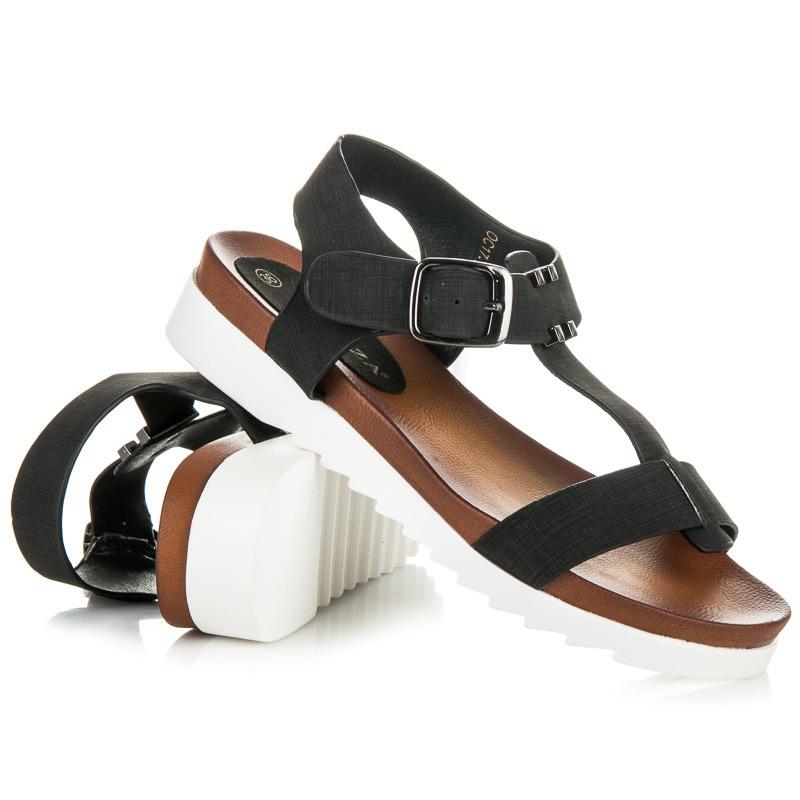 643f8666e576 Pohodlné čierne remienkové sandále na platforme
