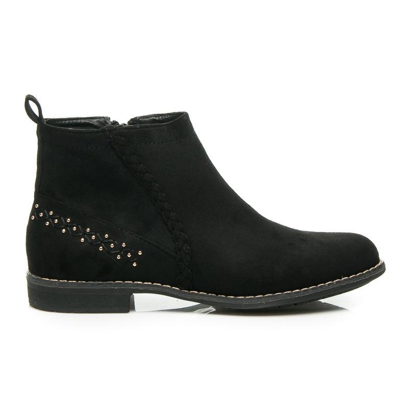 ad6d026e75 Pohodlné čierne semišové členkové topánky s kamienkami na päte ...