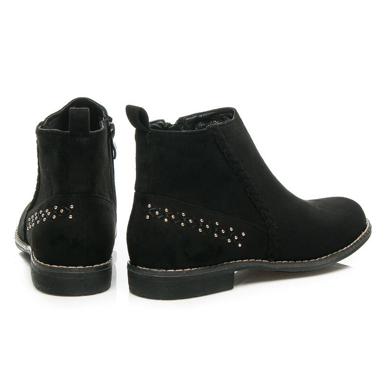5fdb732c10 ... Pohodlné čierne semišové členkové topánky s kamienkami na päte ...