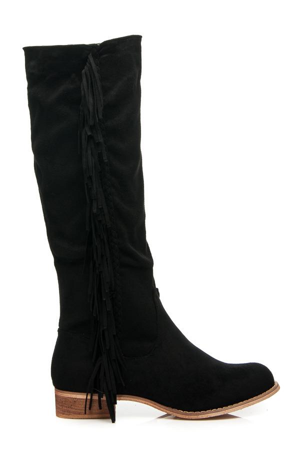 c8e9727293a8 Pohodlné čierne semišové vysoké čižmy so strapcami