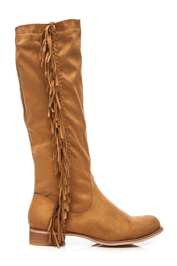 Pohodlné hnedé semišové vysoké čižmy so strapcami  27eb4925299