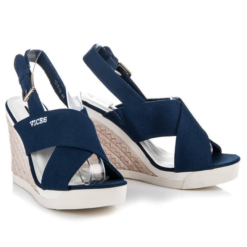 c3ba032bd42f Pohodlné modré sandále na kline