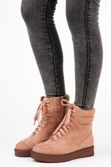 eaf9175f04606 Pohodlné ružové členkové topánky na hrubej podrážke