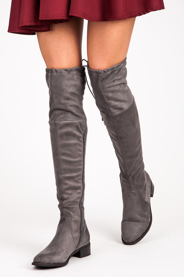09d2626dbd1f Pohodlné sivé semišové vysoké čižmy nad kolená