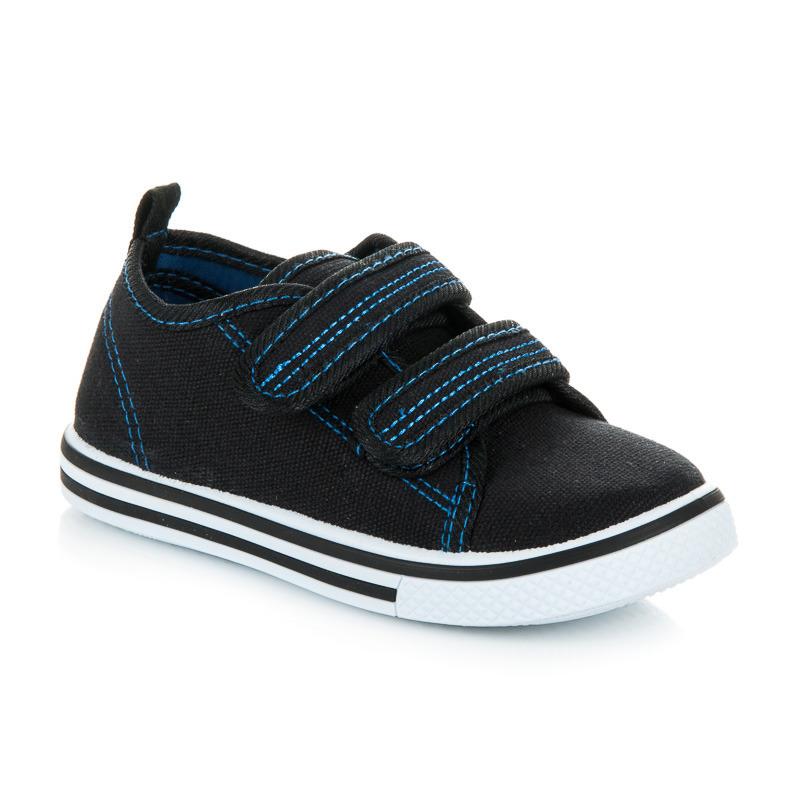 Praktické čierne chlapčenské tenisky na suchý zips  7a9749864fb