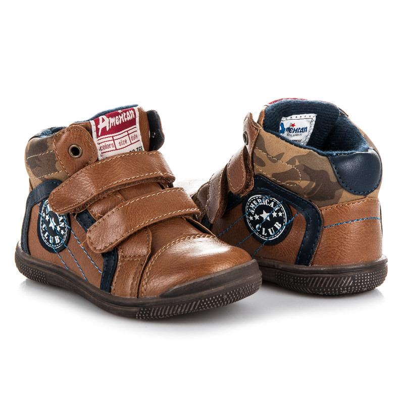Prvotriedne hnedé chlapčenské členkové topánky na suchý zips ... 527dc305e93