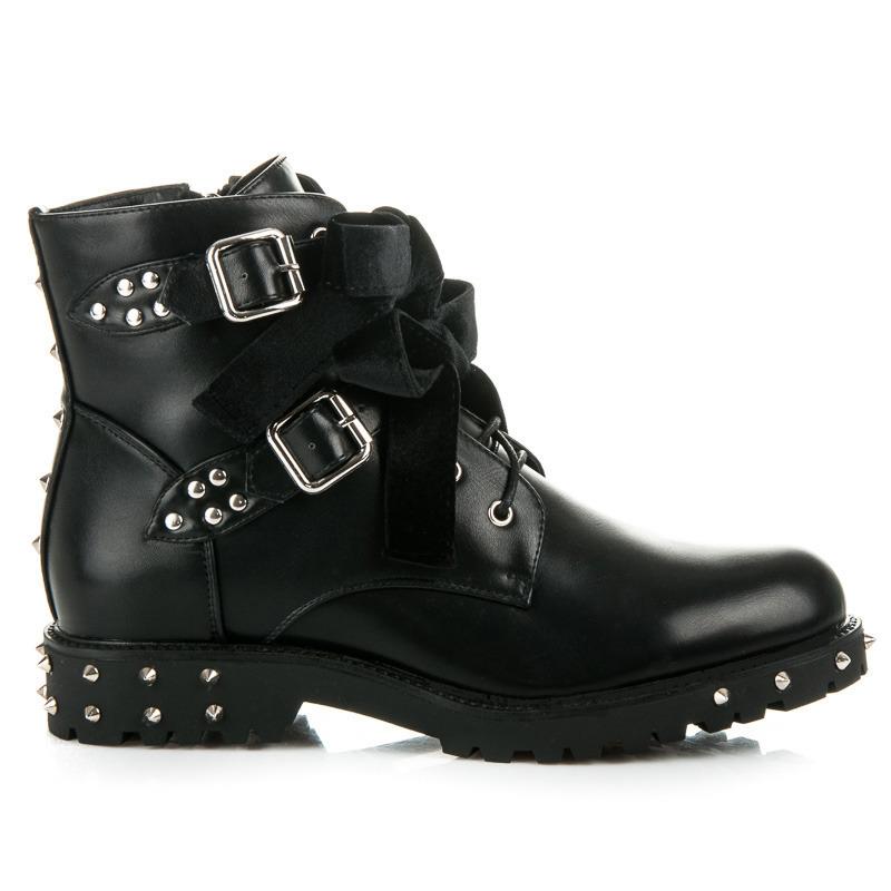 e46d3fb394b5 Rockové čierne členkové topánky s mašličkami a cvočkami
