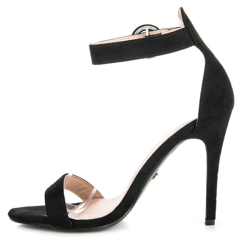 a4aed4e3911f ... Rozkošné čierne sandále na vysokej ihle ...
