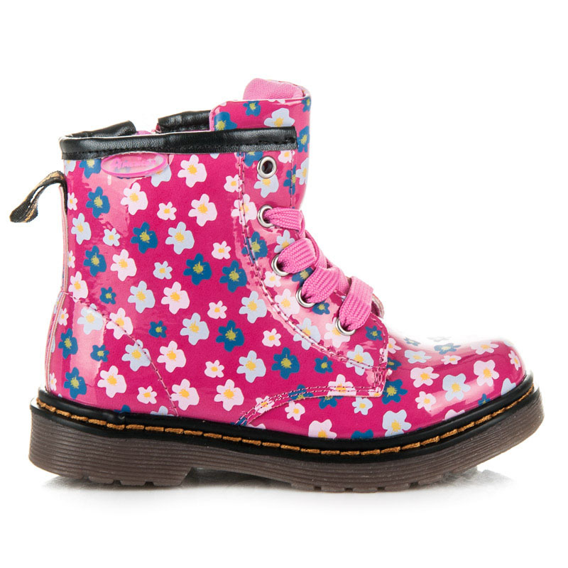 Ružové detské členkové topánky s kvetinovou potlačou  fd44c64a0ad