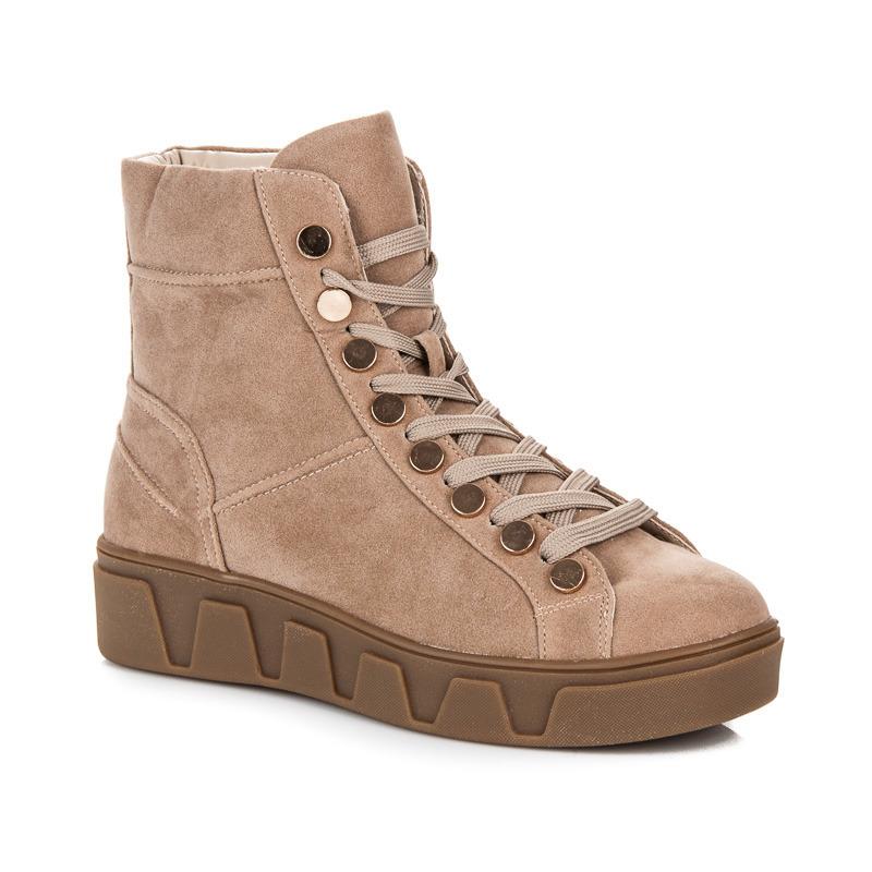 dfdb7e14f373 Semišové béžové členkové topánky na platforme so šnurovaním
