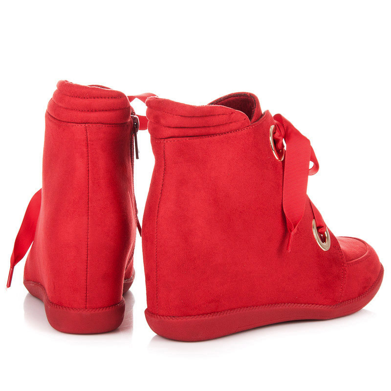 f8d2a237d8cf ... Semišové červené členkové topánky viazané stužkou
