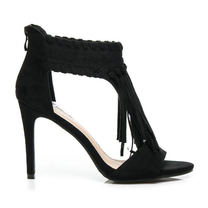 Semišové čierne dámske sandále so strapcami