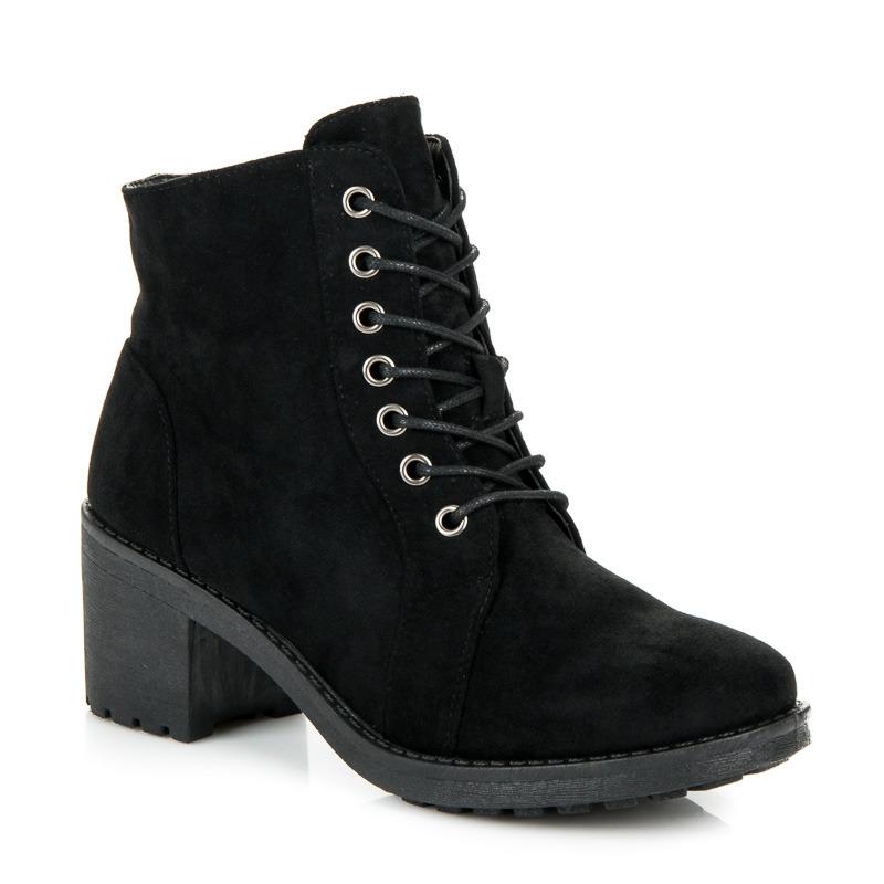 eca3a6b9bd Semišové čierne šnurovacie členkové topánky na podpätku