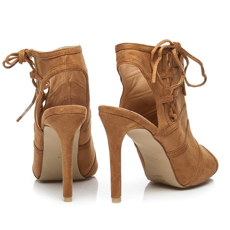 8f1ab248c963 Semišové hnedé členkové topánky s otvorenou špičkou