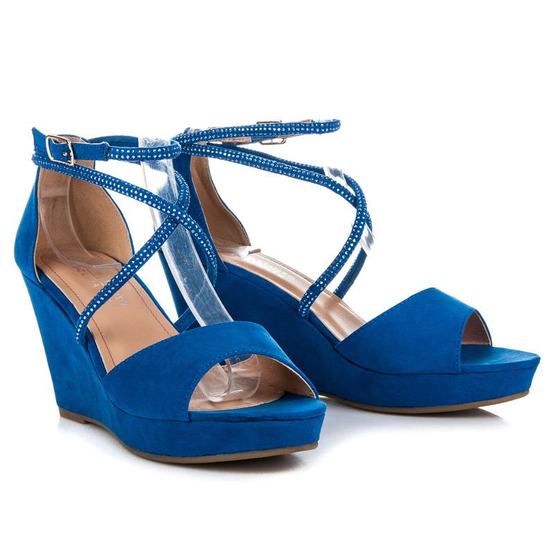 be28637e92a5 Semišové modré sandále na kline s ozdobami