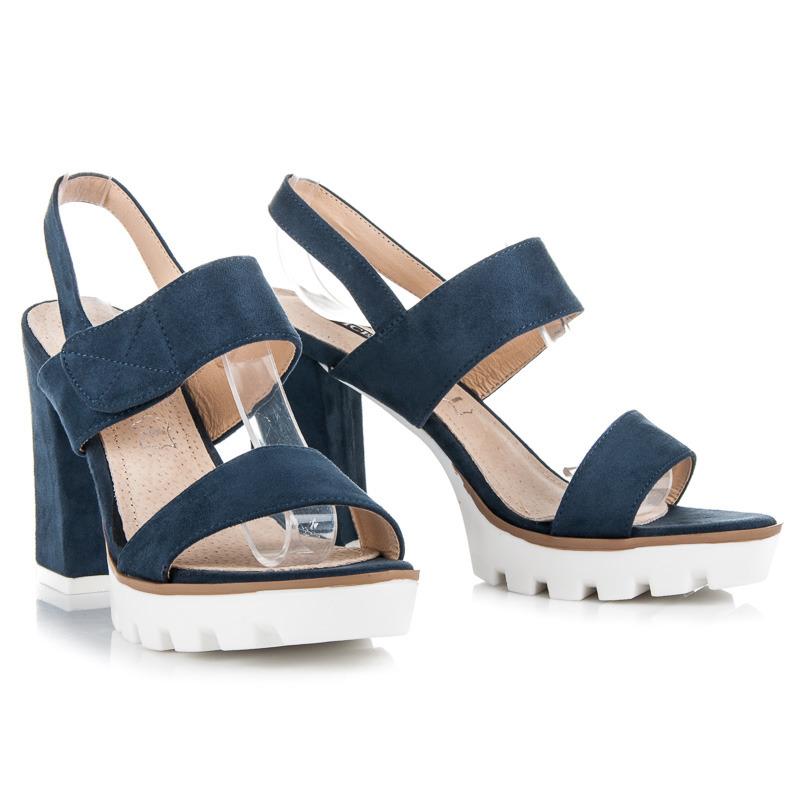 886ec21a3d92 Semišové modré sandále na podpätku a platforme