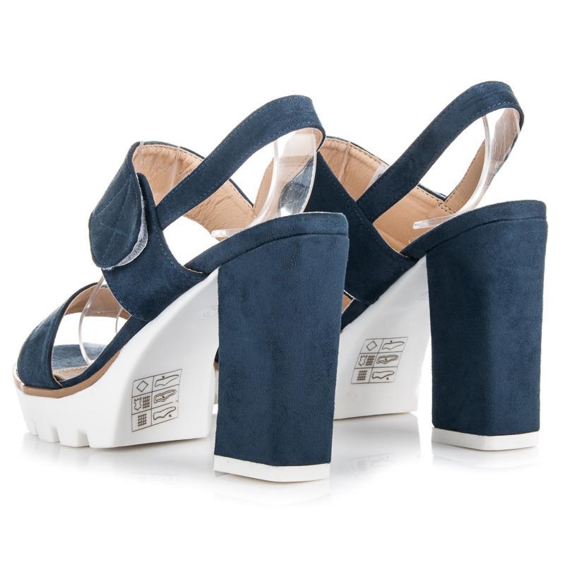 7c62c91de9824 Semišové modré sandále na podpätku a platforme | AMIATEX.sk