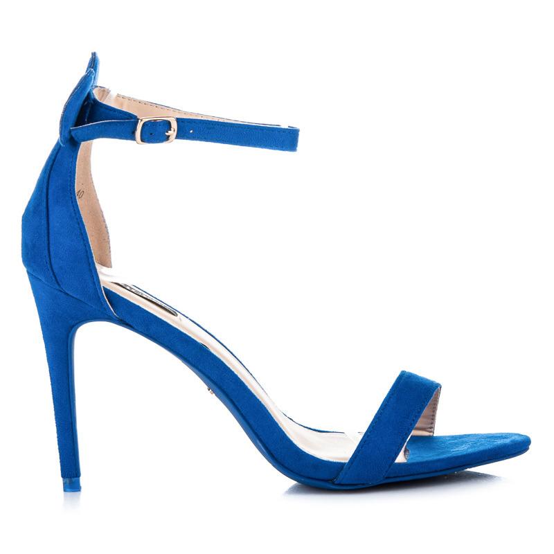 fefa66445285 Semišové modré sandále s uškami