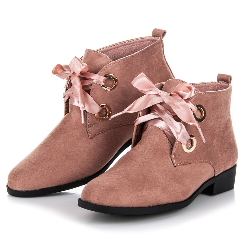 0f940a808 Semišové ružové členkové topánky s mašľou   AMIATEX.sk