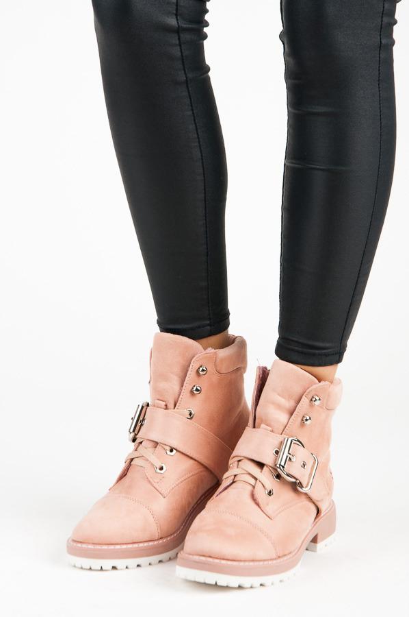 37218dd759 Semišové ružové šnurovacie členkové topánky s prackou