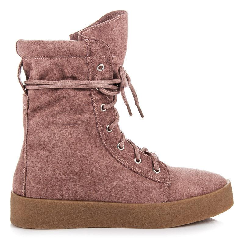 Semišové ružové vysoké členkové topánky na šnurovanie  6e3838f3a3e