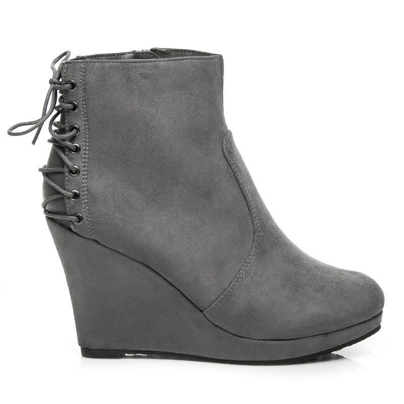 Semišové šedé členkové topánky na kline 04c522e105a