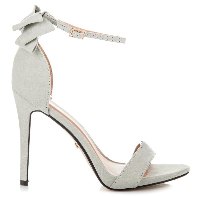 b54a637cdc07 Semišové šedé sandále s mašľou