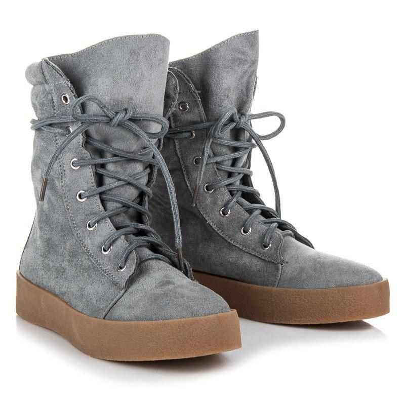 446b98c95862 Semišové šedé vysoké členkové topánky na šnurovanie