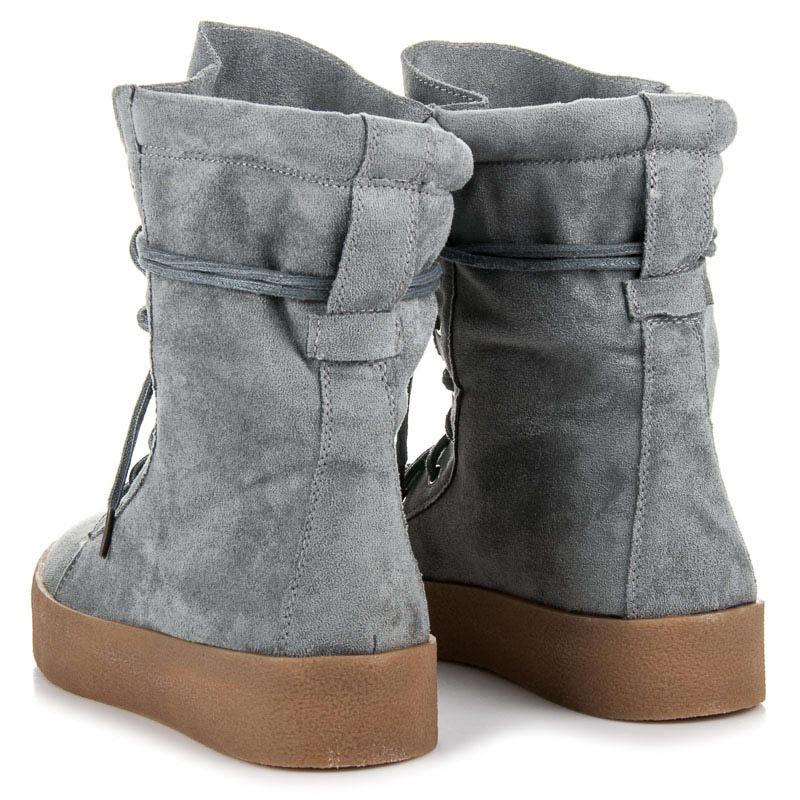 8f1da20caaf4 ... Semišové šedé vysoké členkové topánky na šnurovanie