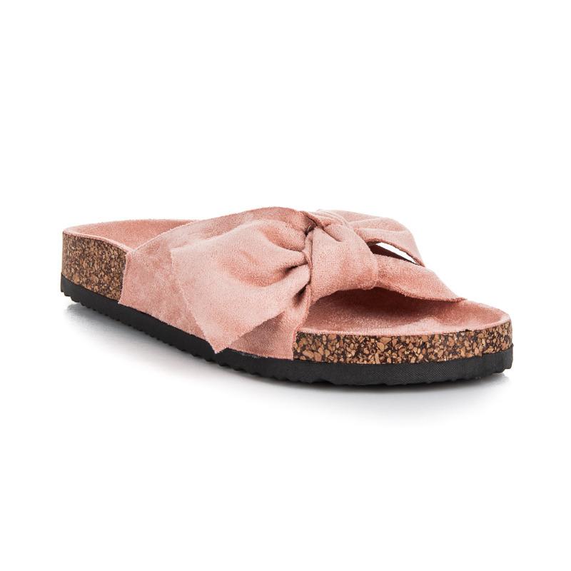 52f8be2c3d Semišové svetlo ružové šľapky s mašľou