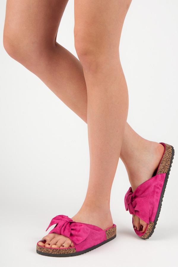 ade165d711 Semišové sýto ružové šľapky s mašľou