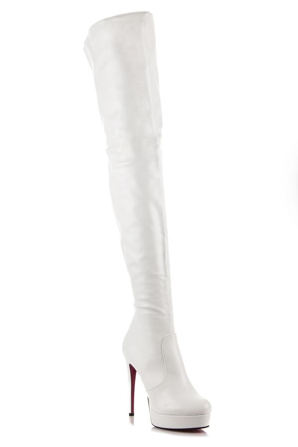 ff4306562f Sexy biele vysoké čižmy na podpätku