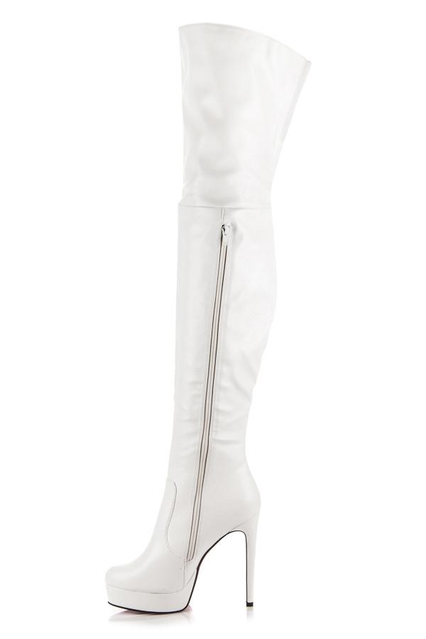 4c1bbff69a ... Sexy biele vysoké čižmy na podpätku ...