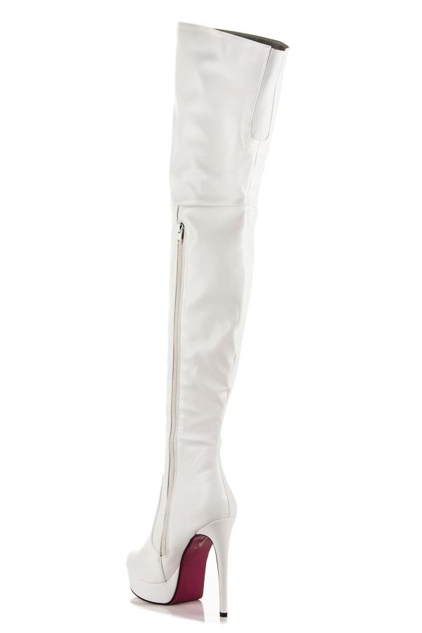 5c655a6160 ... Sexy biele vysoké čižmy na podpätku