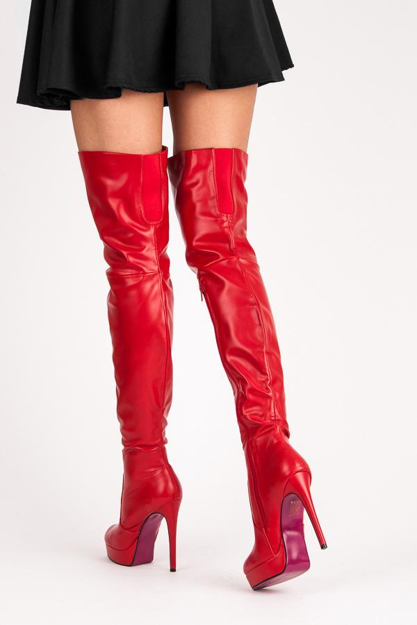 656259f6a243e Sexy červené vysoké čižmy na podpätku | AMIATEX.sk