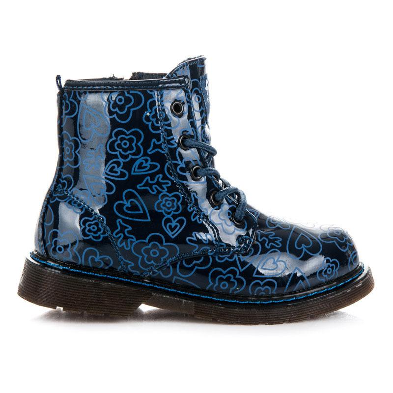807ed13afb71 Skvelé modré dievčenské členkové topánky s efektným vzorom
