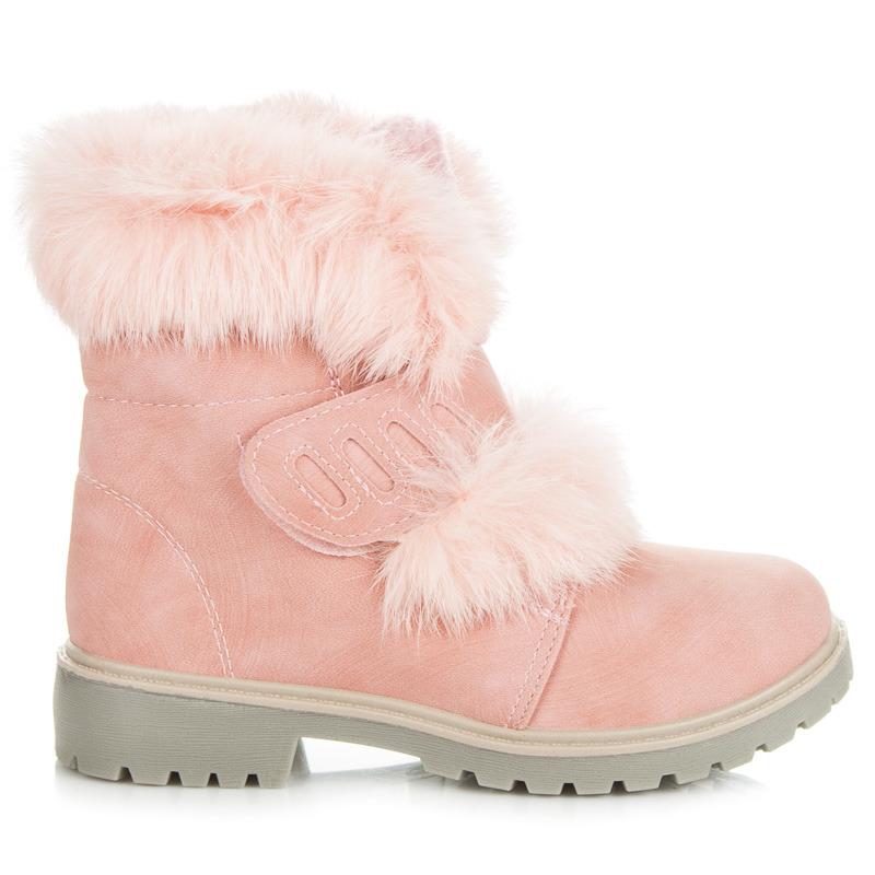 623ddd4a1 Skvelé ružové detské členkové topánky zdobené kožušinkou | AMIATEX.sk