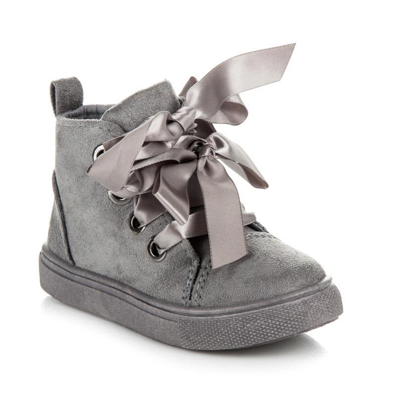 d0a82dd88 Skvelé šedé semišové detské členkové topánky viazané stužkou ...