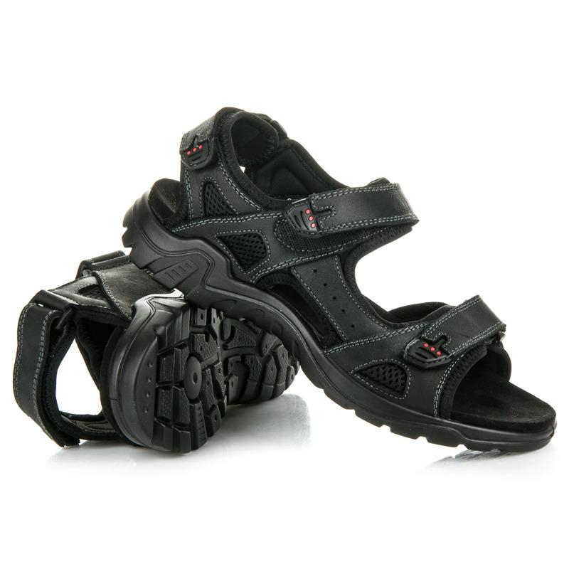 11c8e0f1033f ... Športové čierne pánske sandále z kože