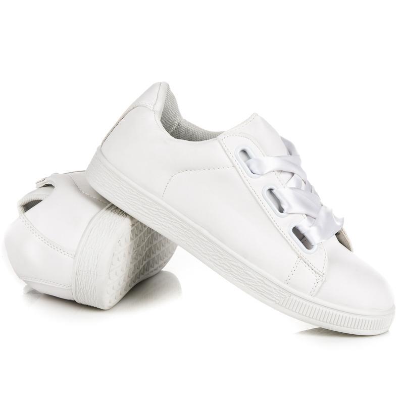 ... Štýlové biele tenisky so stužkou 8262559281c