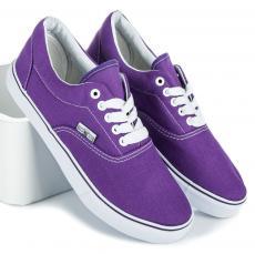 3de201ffaa41 Štýlové fialové textilné tenisky na šnurovanie