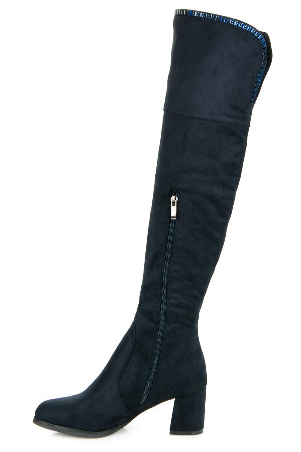 89158360445b ... Štýlové modré čižmy nad kolená