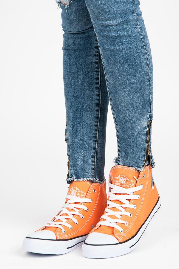 Štýlové oranžové členkové tenisky