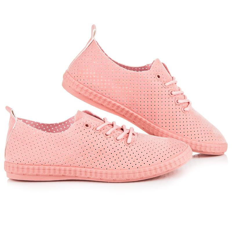 62ef26846 Štýlové ružové dierované tenisky so šnurovaním | AMIATEX.sk
