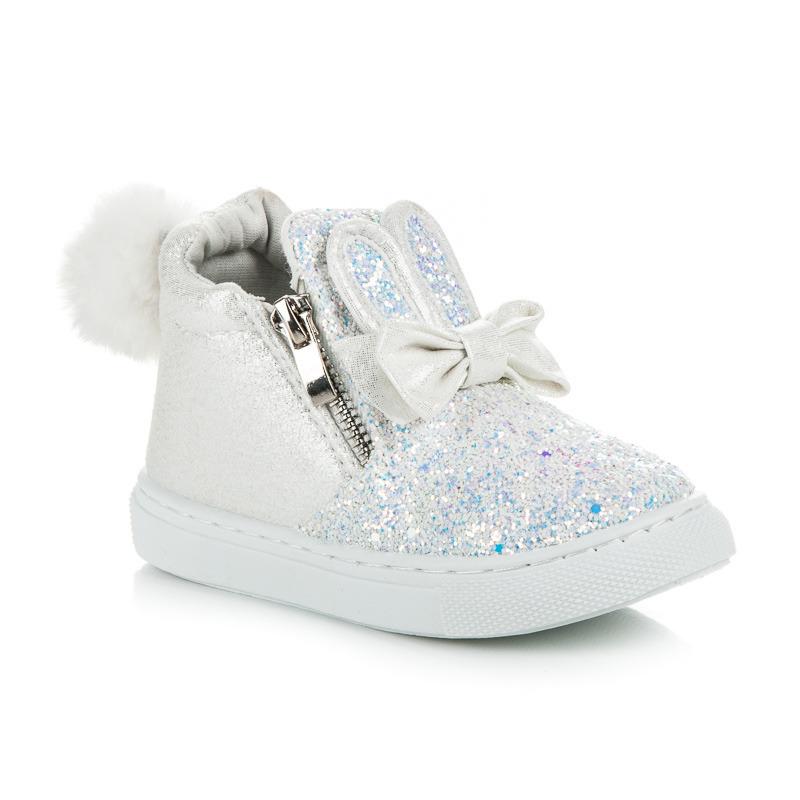 111e8eabe Štýlové trblietavé biele detské členkové topánky | AMIATEX.sk
