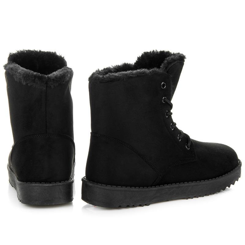 74699d19528c0 Teplé čierne členkové topánky s kožušinkou | AMIATEX.sk