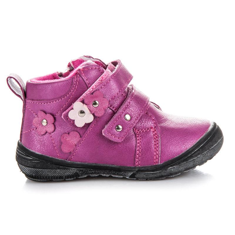Teplé ružové dievčenské členkové topánky na suchý zips  6be2f7c56cd