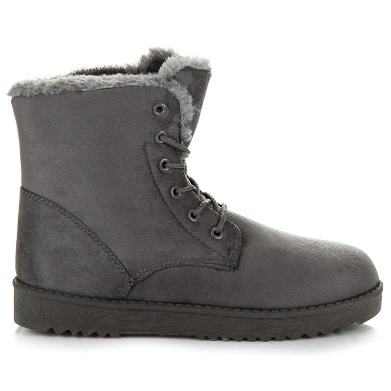 Teplé šedé členkové topánky s kožušinkou
