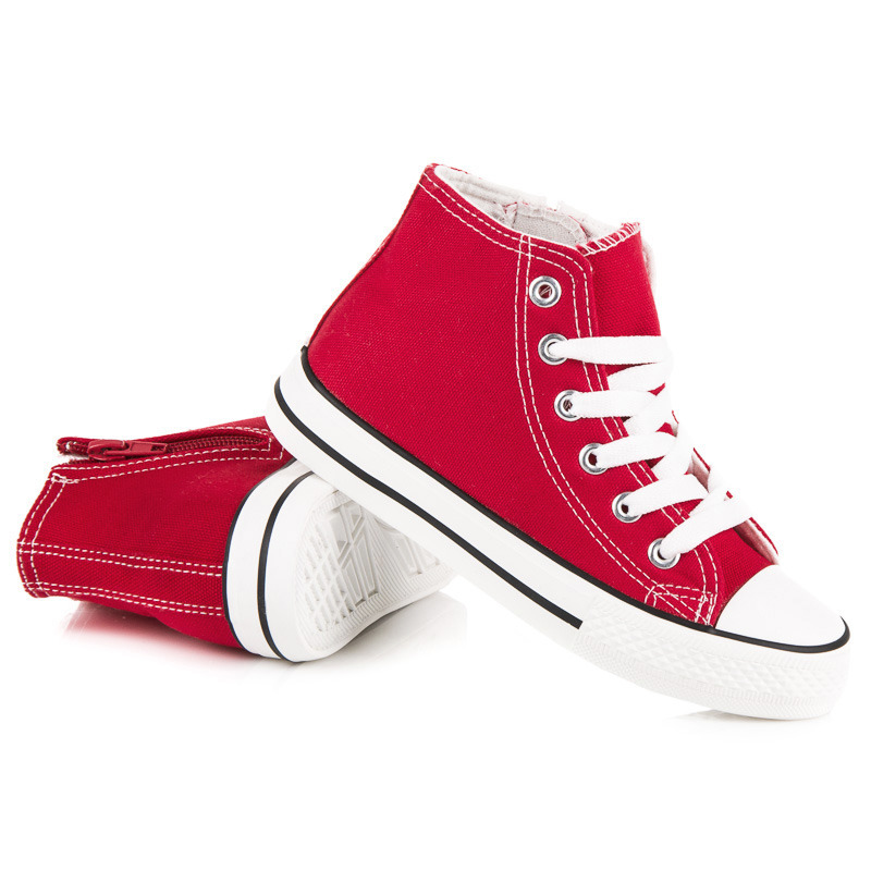 e9436353b70c5 Textilné červené detské členkové tenisky so zipsom na bočnej strane ...
